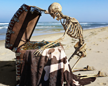 Portrait of an ancient skeleton opening a pirate treasure chest with amazement off the coast of an island. 3d rendering Stock Photo