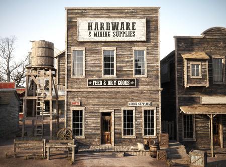 Tienda de suministros de hardware y minería rústica de la ciudad occidental. Representación 3d Parte de una serie de ciudades occidentales. Foto de archivo