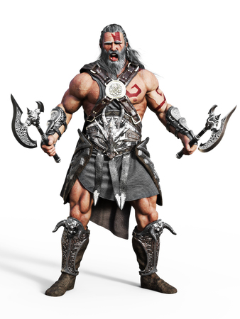 Fierce armored barbarian warrior ready for battle on an isolated white background. 3d rendering illustration