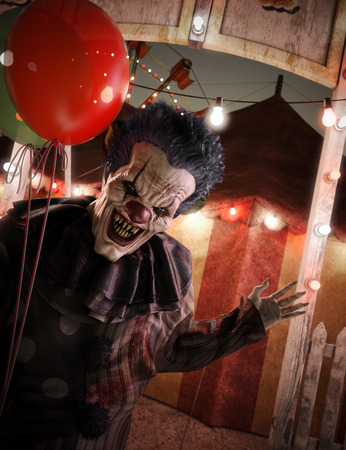 Very eagerly inviting clown welcoming you to the circus entrance .3d rendering Imagens