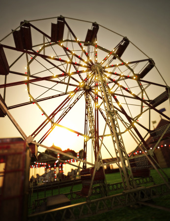 Carnival midway background with Ferris wheel and carousel . 3d rendering Stock Photo