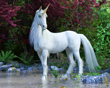 Mythical white Unicorn posing in an enchanted forest . 3d rendering