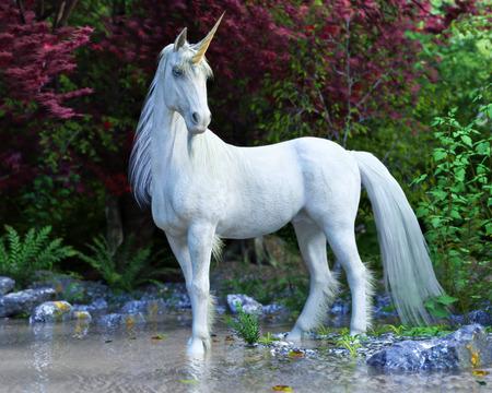 Mythologique licorne blanche posant dans une forêt enchantée . rendu 3d Banque d'images - 98464332
