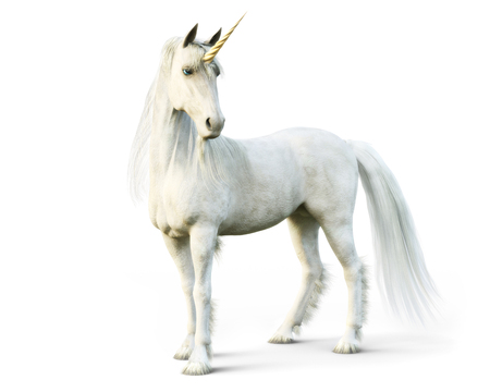 Mythical white Unicorn posing on a white isolated background. 3d rendering