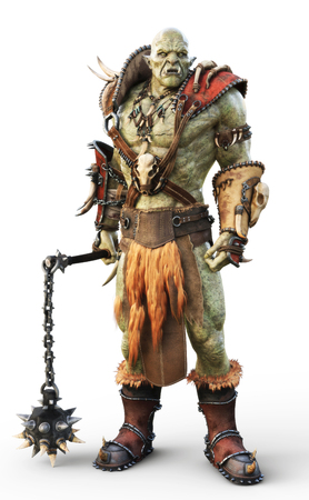 Savage Orc Brute warrior wearing traditional armor. Fantasy themed character on an isolated white background. 3d Rendering