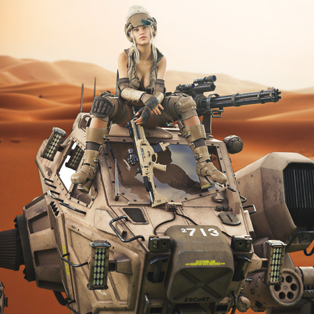 Futuristic Female soldier sitting on top of her piloted Mech robot machine. 3d rendering