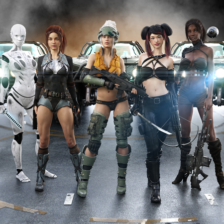 Echo team 6. Portrait of a group of special operations females preparing to embark on a top secret classified mission. Science fiction 3d rendering Stock Photo