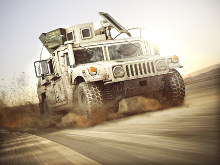 Military armored vehicle moving at a high rate of speed with motion blur over sand. Generic 3d rendering scene