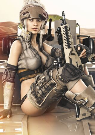 Futuristic Military themed female posing on top of an armored vehicle.Sci fi  3d rendering Stock Photo