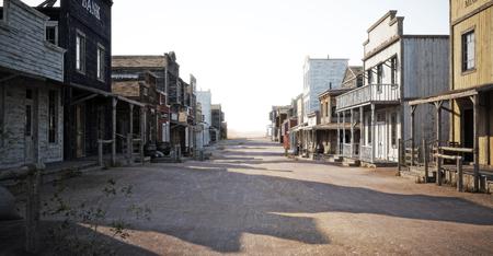 Carretera de la ciudad occidental con varios negocios y profundidad de campo. Representación 3d Foto de archivo