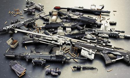Almacén de armas con rifles de asalto automáticos y accesorios, escopeta y rifle de francotirador. Consiste en rondas de bala, cargadores, sitios delanteros y traseros y un visor de rifle guiado por láser. Representación 3d Foto de archivo