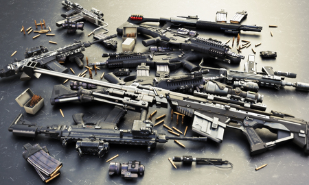 Le armi si nascondono con fucili d'assalto automatici e accessori, fucile a pompa e fucile da cecchino. Composto da proiettili, caricatori, siti anteriori e posteriori e un cannocchiale da puntamento a guida laser. Rendering 3D Archivio Fotografico
