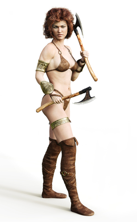Portrait of a barbarian female with red hair and duel axes posing on a white background. 3d rendering Stock Photo - 100324452