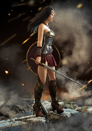 Female warrior looking on after a battle with sword and shield in hand . Fantasy 3d rendering.
