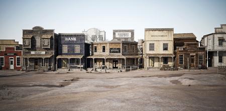 Ampia veduta laterale di un rustico antico paese occidentale con varie attività commerciali. Rendering 3D