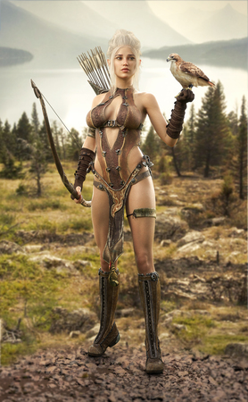 Fantasy elf female hunter surveying the lands with her hawk. 3d rendering Stock Photo