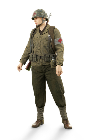 Portrait of a uniformed male world war 2 combat medic on an isolated white background. 3d rendering