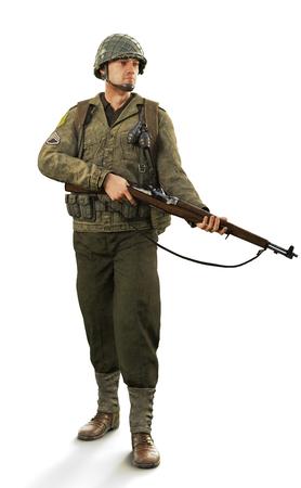 Portrait d'un soldat de combat de la seconde guerre mondiale mâle en uniforme sur un fond blanc isolé. Rendu 3D