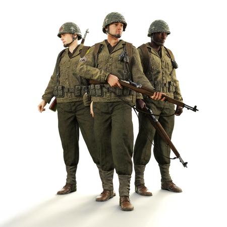 Portret van een ploeg van geüniformeerde wereldoorlog 2 Amerikaanse gevechtssoldaten op een afgelegen witte achtergrond. 3D-weergave