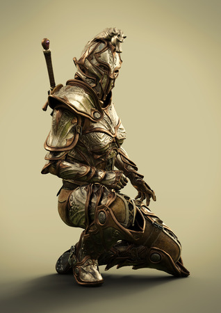 Side profile of a female fully armored ornamental knight . 3d rendering Banque d'images - 102565628