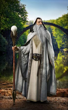 Legendarny biały czarodziej pozujący przed mityczną zaczarowaną scenerią. renderowanie 3d Zdjęcie Seryjne