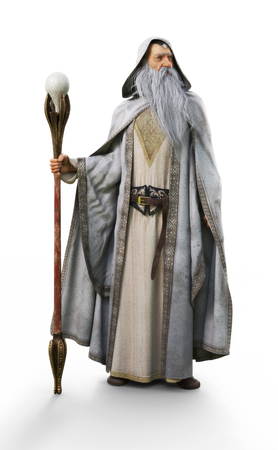 A white wizard with staff posing on an isolated white background . 3d rendering