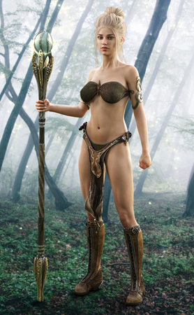 Blonde female wizard posing in an enchanted forest.  3d rendering Stock Photo