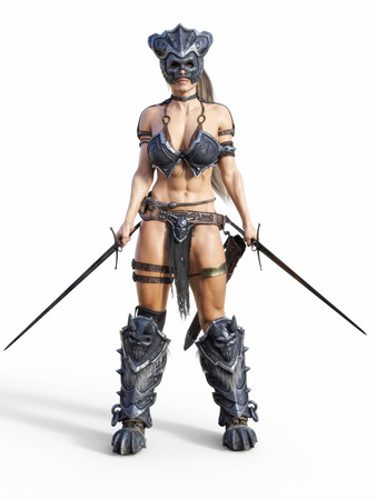 Feroz guerrera armada posando sobre un fondo blanco aislado. Ilustración de renderizado 3D