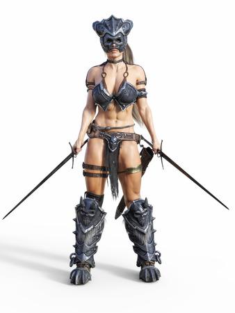 Heftiger bewaffneter weiblicher Krieger, der auf einem isolierten weißen Hintergrund aufwirft. 3D-Rendering-Illustration