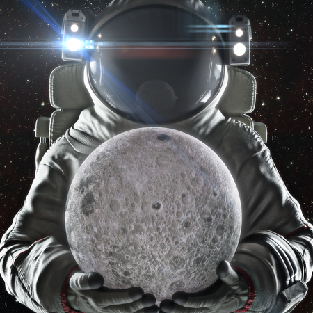 Return to the moon . Astronaut holding the earth orbiting moon. Exploration and journey to the Moon concept. 3d rendering .