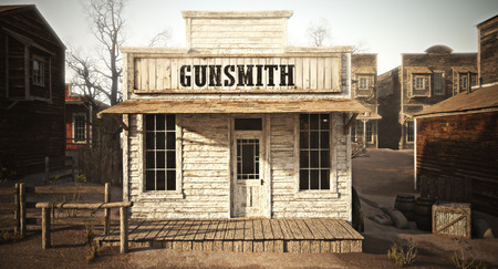 Western town rustic gunsmith weapons and ammunitions supply store. 3d rendering . Part of a Western town series. Stock Photo