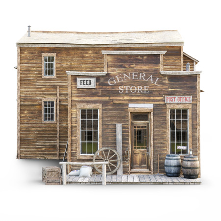 Western town rustic general store on an isolated white background. 3d rendering