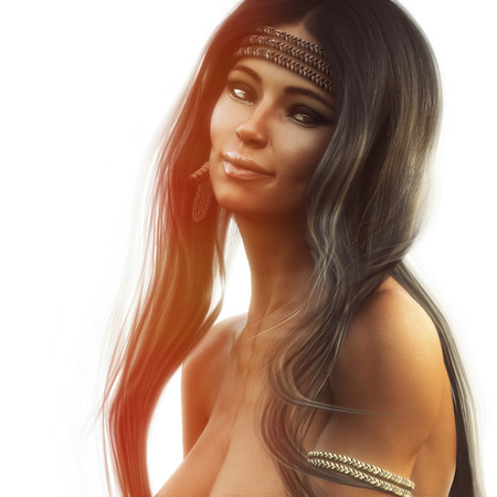 Portrait of a stunning topless native American female with long brown frosted hair wearing traditional headdress. 3d rendering