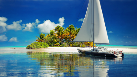 Private getaway . Sailboat reaching a secluded tropical island for two. 3d rendering Zdjęcie Seryjne