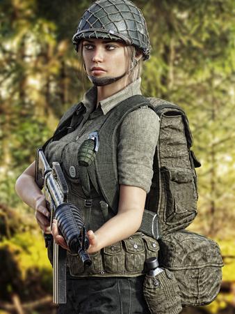 Female combat soldier on patrol. 3d rendering Zdjęcie Seryjne