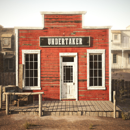 Western town rustic undertaker. 3d rendering . Part of a Western town series. 스톡 콘텐츠