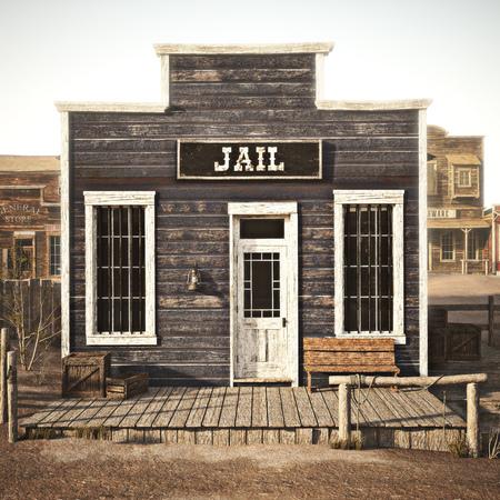 Rustic western town jail. 3d rendering. Part of a western town series Stok Fotoğraf - 109198991