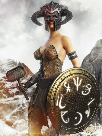 Portrait of a fantasy female hunter holding a magical shield and war hammer. 3d rendering