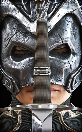 Closeup of a female armored warrior knight with sword. 3d rendering