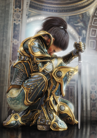 Female warrior knight kneeling proudly wearing decorative ornamental armor. 3d rendering Standard-Bild