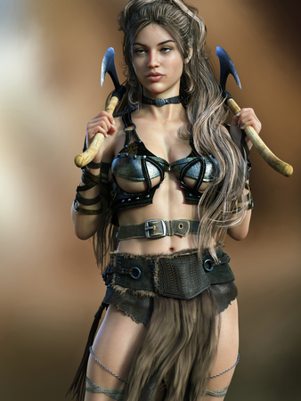 Portrait of a posing barbarian female wielding two axes on a gradient background. 3d rendering