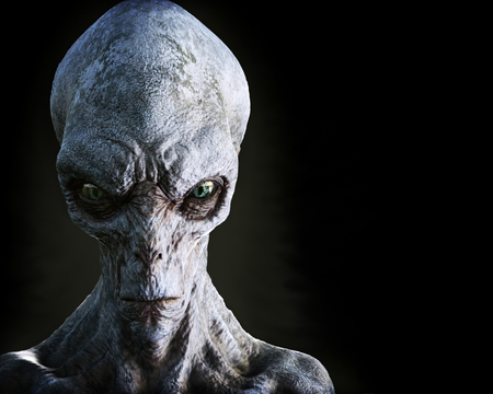 Portrait of an alien male extraterrestrial on a dark background with room for text or copy space. 3d rendering