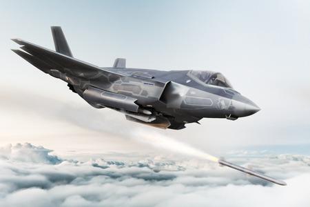 F-35 Avions militaires avancés verrouillant la cible et tirant des missiles. Rendu 3D