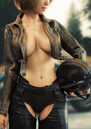 Retrato de una chica motociclista con equipo de motociclista de cuero clásico con chaleco abierto. Representación 3d Foto de archivo