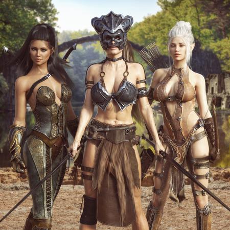 Portret van een groep fantasievrouwtjes die aan een episch avontuur beginnen. De krijger, elfboogschutter en verkennersmoordenaar, het 3d teruggeven