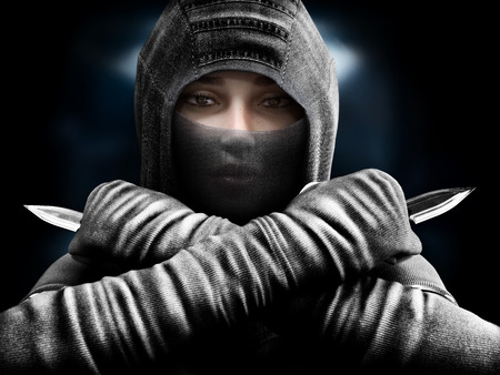 Female assassin slipping from the shadows closing in our her target. 3d rendering Stok Fotoğraf