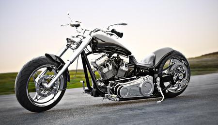 Custom black motorcycle on the open road. 3d rendering
