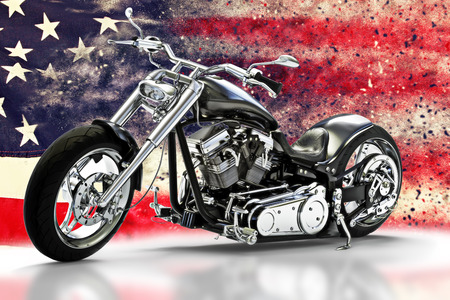 Custom black motorcycle with American flag background with dispersion effects. Made in America concept. 3d rendering Stock Photo