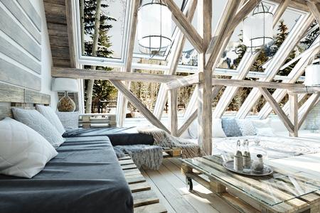 Rustic open floor interior room concept design with winter scenic background. 3d rendering Stockfoto - 109199951