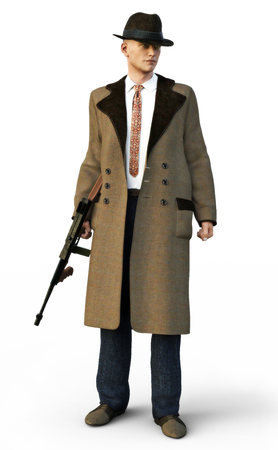 Mafia gangster wearing traditional clothing with machine gun on an isolated white background. 3d rendering